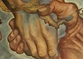 Mural of linked hands and famous US and Mexican leaders.