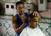 Haircut in Apartment Lobby, Santiago de Cuba.