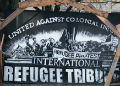 Sign for International Refugee Tribunal at encampment of African immigrants, Berlin, Germany.