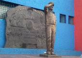 Statue outside the headquarters of the Policía Bancaria e Industrial,, Mexico City.