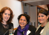 "Rachel Lewis, Elsy Rivas, and Karla Cativo at ""Rethinking Migration."""