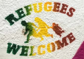 Refugees Welcome, Freiburg, Germany.  Photo by Jacquelyn Powell.